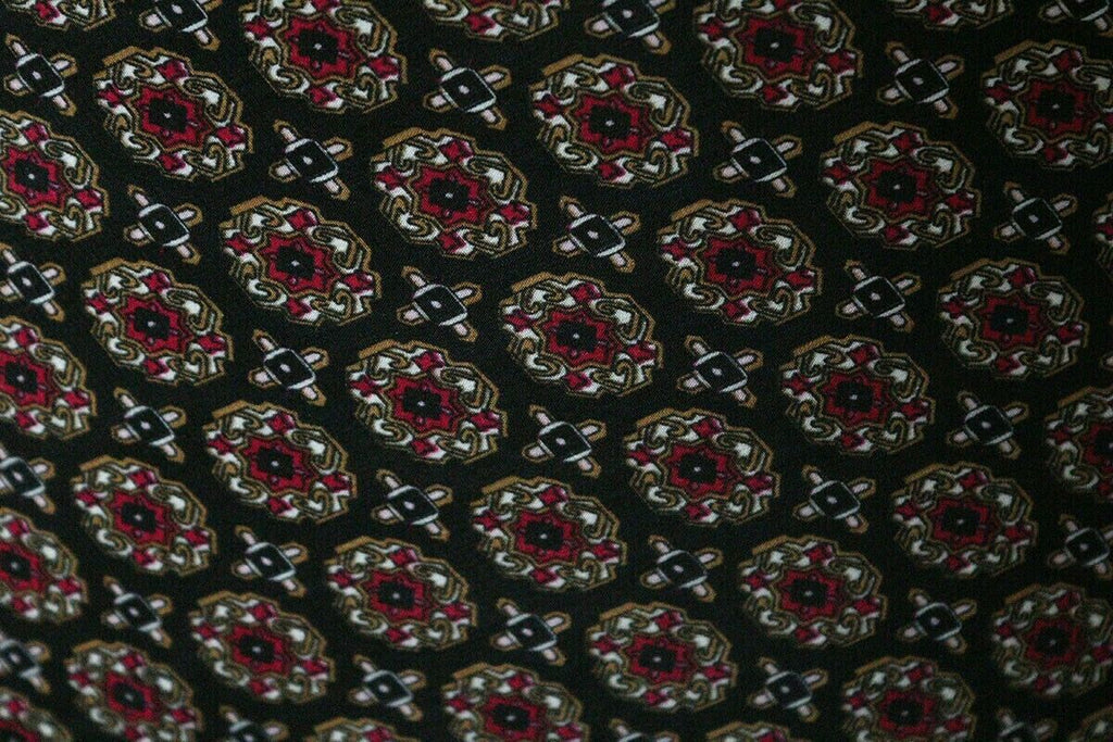 Dark Gentleman's Club Tie Print Crepe De Chine Dress Fabric Material (Burgundy) - The Textile Centre