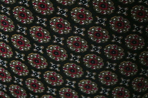 Dark Gentleman's Club Tie Print Crepe De Chine Dress Fabric Material (Burgundy)