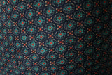 Dark Gentleman's Club Tie Print Crepe De Chine Dress Fabric Material (Navy/Teal) - The Textile Centre