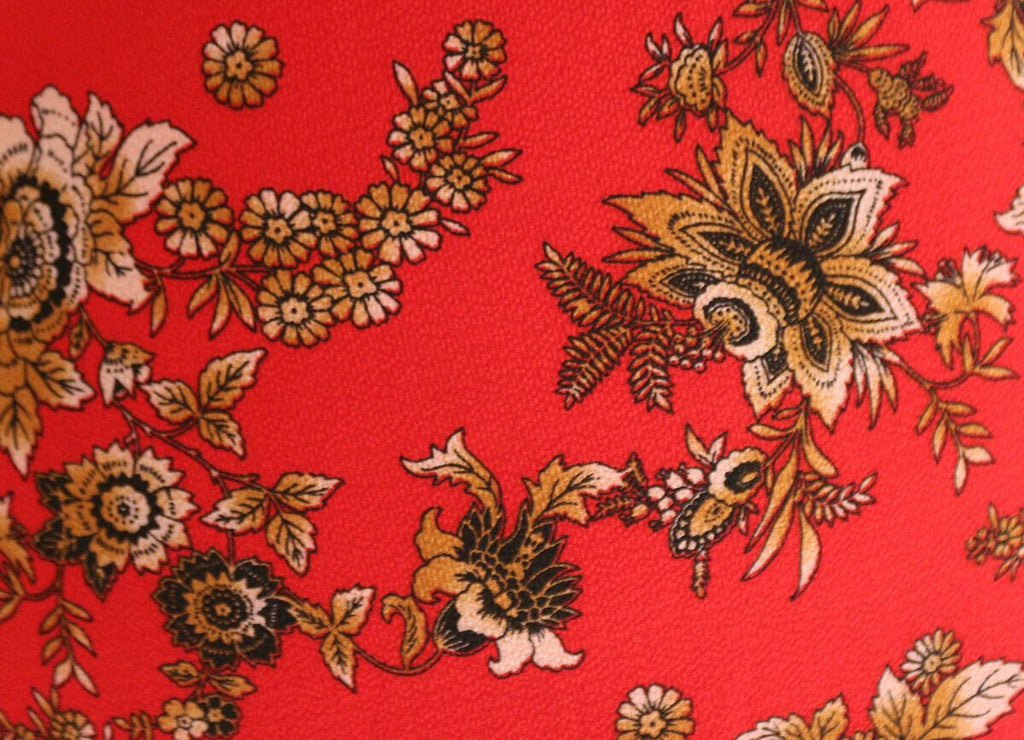 Double Border Stunning Red Gold Floral Print Poly Bubble Crepe - The Textile Centre