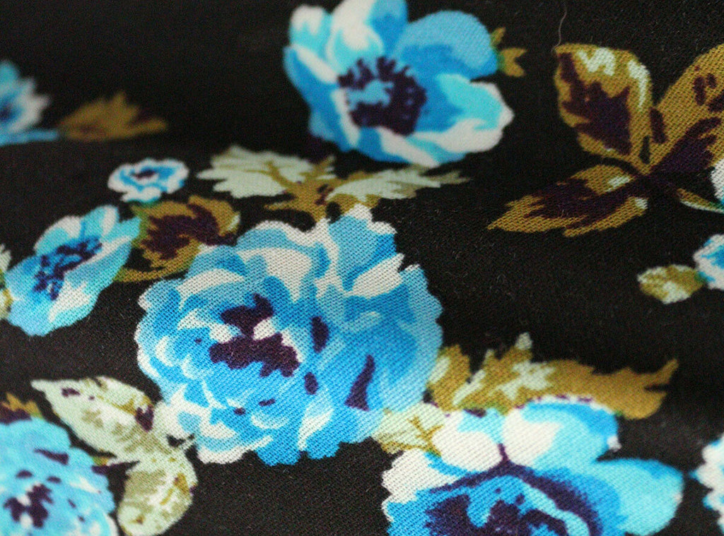 SALE!!! Moody Blues Floral Print 100% Spun Viscose Voile Dress Fabric Material