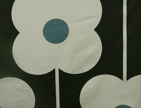 Abacus Flower Designer 100% Cotton Curtain Fabric Material (Cream/Green/Blue)