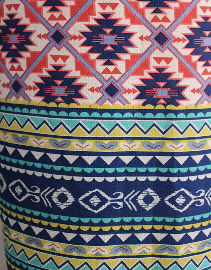 Fun Native American Inspired Double Border Print Poly Bubble Crepe Dress Fabric