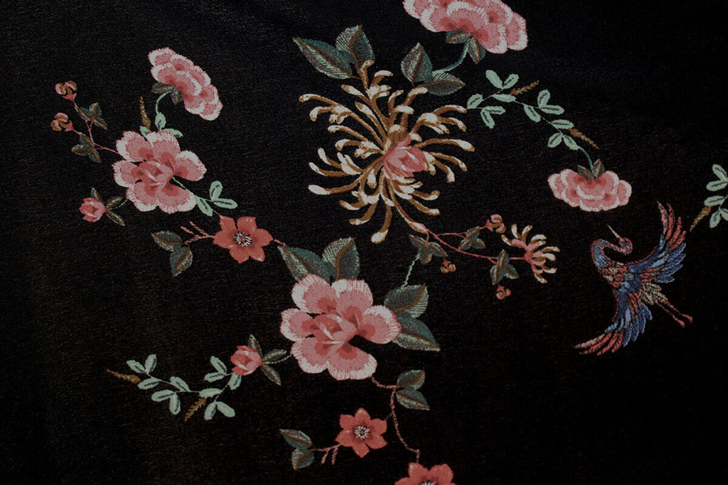Pretty Pink Floral Night Garden Viscose Marocain Dress Fabric Material (Black)