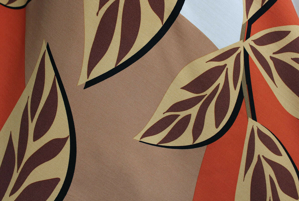 Funky Colour Block Bold Leaves Print 100% Spun Viscose Dress Fabric Material
