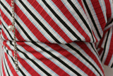 Retro Inspired Railroad Striped Ribbed Polyester Jersey Dress Fabric Material
