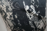 Vintage Inspired Guipure Lace Print Cotton Sateen Dress Fabric Material (Stone)