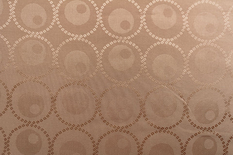 Circled Circles Silky Jacquard Lining Dress Fabric Material (Golden Champagne)