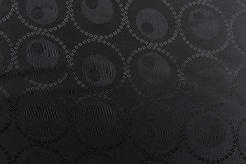 Circled Circles Silky Jacquard Lining Dress Fabric Material (Charcoal)