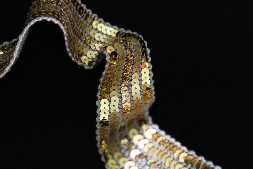 Gold & Rainbow Light-Weight 5 Row Sequin Braiding Non Stretch Edging Trimming Fabric