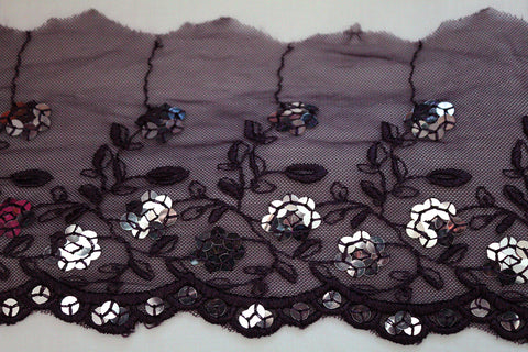 Dark Floral Thick Tonal Embroidered Mesh & Sequin Cut- Scallop Edging Trimming Fabric