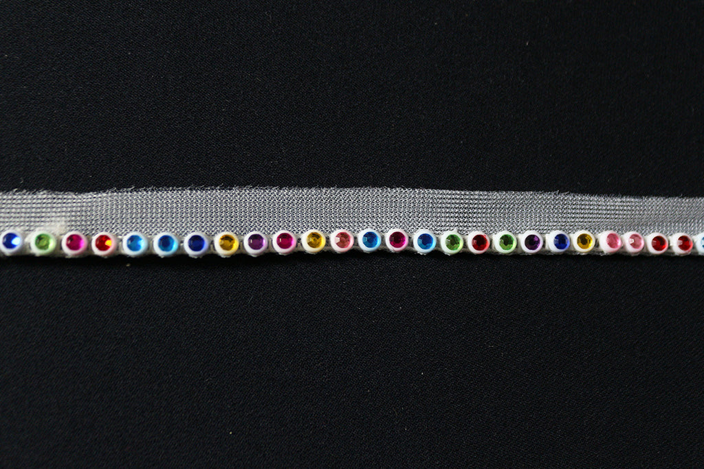 Rainbow Multi Coloured Gems Mesh Insertion L-Weight Craft Tape Edging Trimming - The Textile Centre
