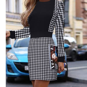 2019 Women Sexy OL Long Sleeve Short Dress Fall Winter Vintage Houndstooth Print Slim Office Mini Dresses Womens Party vestido