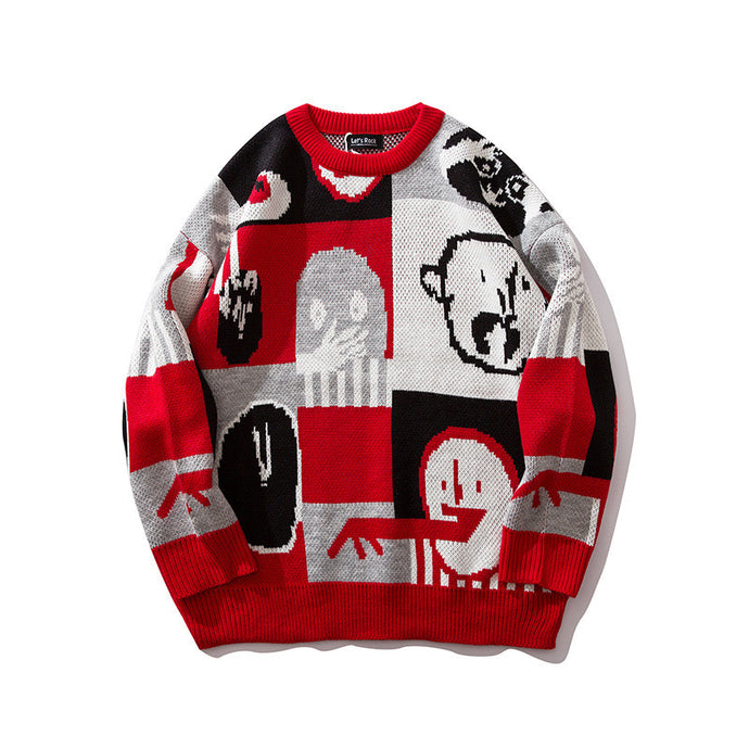 #1536 Streetwear Hip Hop Sweater Men Knitwear Man Loose Plus Size Pullover Homme Sweater For Men Cartoon Pattern Autumn Winter