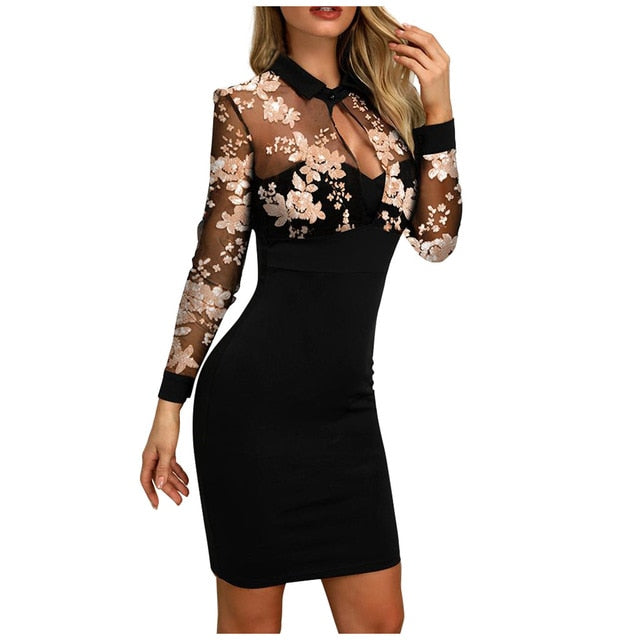 Black Mesh Long Sleeve Bodycon Elegant Turn Collar Dress Women 2020 Spring Slim Clubwear Party Office Ladies Mini Dresses#4