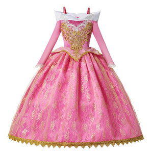 Girls Aurora Dress Bebe Pink Sleeping Beauty Dress Up Floral Flare Sleeve Gorgeous Pageant Gown for Girls Children Aurora Wig