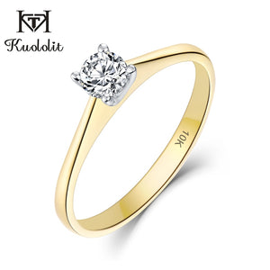 Kuololit 10K Yellow &White Gold 100% Natural Moissanite D Gemstone Rings for Women Wedding Engagement Bride Gifts Fine Jewelry