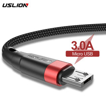 Load image into Gallery viewer, USLION Micro USB Cable 3A Fast Charging USB Data Cable Cord for Samsung Xiaomi Redmi Note 4 5 Android Microusb Fast Charge 3M 2M