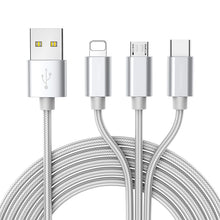 Load image into Gallery viewer, ROCK USB Cable For iPhone 11 XS X 8 7 6 Fast Charging 3 in 1 Micro USB Type C Mobile Phone Android Cord For Samsung Xiaomi