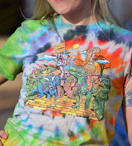 Screen Printed - Dino'z of Oz Hand Tie Dyed T-shirt