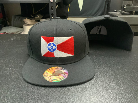 Wichita Flag - Black Snapback - Flatbill