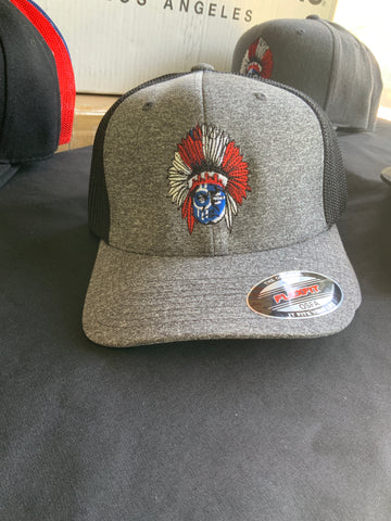 Custom - Embroidered - Wichita Flag - Flexfit - Melange Trucker Cap With Mesh Back