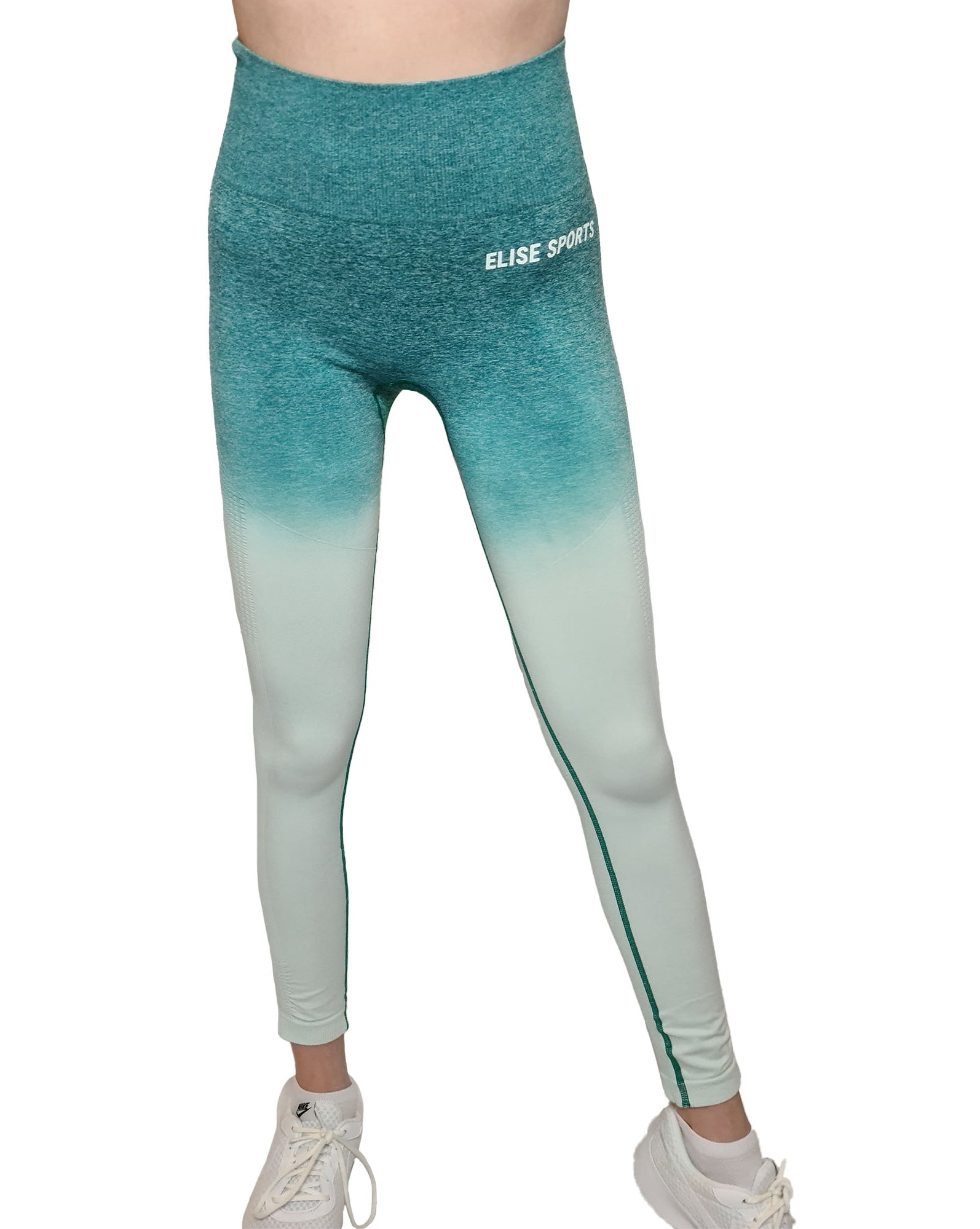 MILA TEAL OMBRE WOMANS GYM LEGGINGS-ARTEMIS CLASSIC COLLECTION