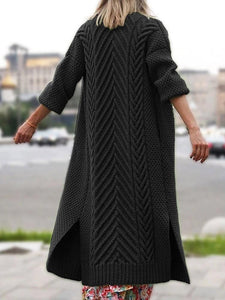 Regular Thick Three-Quarter Sleeve Long Sweater Outwears