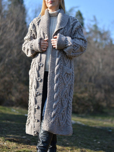 Grey Long Sleeve Knitted Buttoned plus size Outerwear
