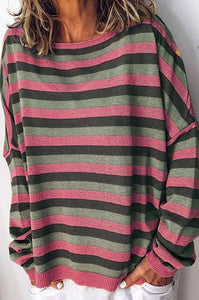 Curvedgirl Sweet Candy Stripe Print T-Shirt(6 Colors)