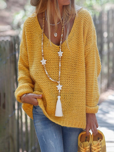 Yellow Long Sleeve Solid V Neck Knitted Sweater