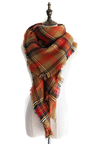 Curvedgirl Wild Plaid Color Matching Scarf