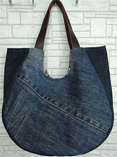 Casual Blue Denim Street Style Simple Shoulder Bag