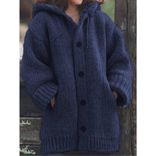 Load image into Gallery viewer, Button Down Hooded Knitted Cardigan Plus Size Outerwear
