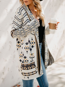 White Long Sleeve Knitted Plus Size Cardigan
