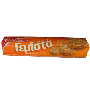 Papadopoulos sandwich cookie filled with orange (gemista)