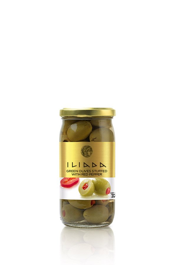 Iliada Green Olives stuffed with Red Pepper