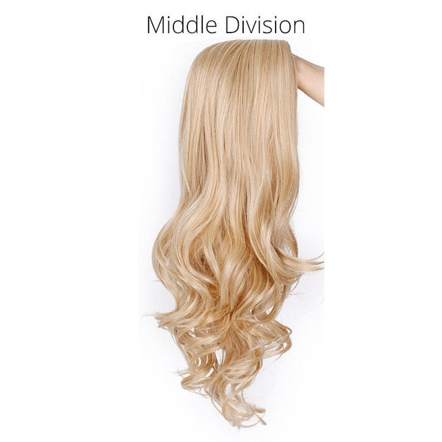 Long Ombre Brown Wavy Wig Blonde Cosplay Synthetic Wigs