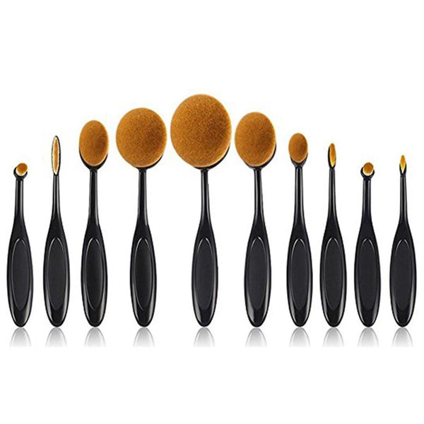 10Pcs Makeup Brush  Set Soft Oval