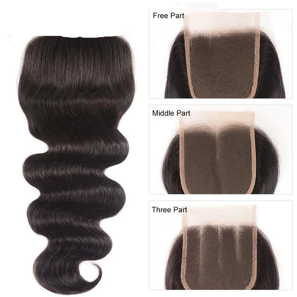 Brazilian Body Wave Closure Swiss Lace Middle, Free &Three Part