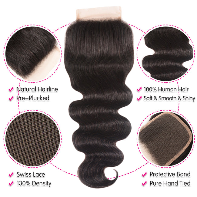 Brazilian Body Wave Lace Closure Free Part 120% Density