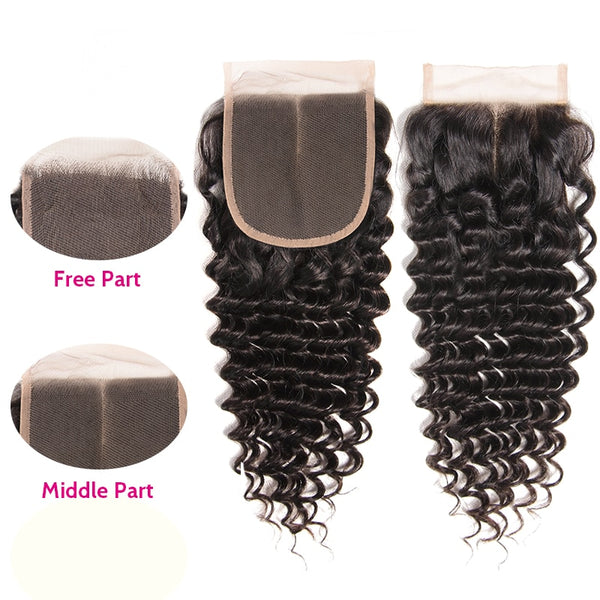 Brazilian Deep Wave 4x4  Lace Closure Free Middle