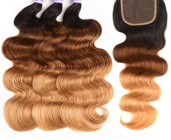 Kysiss Series Ombre 3 Bundles With Closure T1B/4/27 Peruvian Body Wave 4PCS