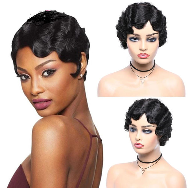 Short Ocean Wave Bob Wigs , Pixie Cut Wig Brazilian Human Hair