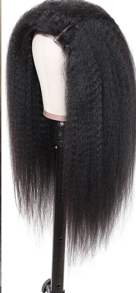 13*4/6 Brazilian Kinky Straight 130% Density Remy  Hair Wig