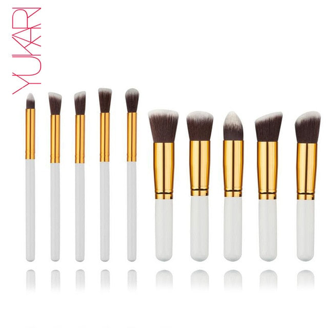 10PCS WOOL Makeup Brush Set