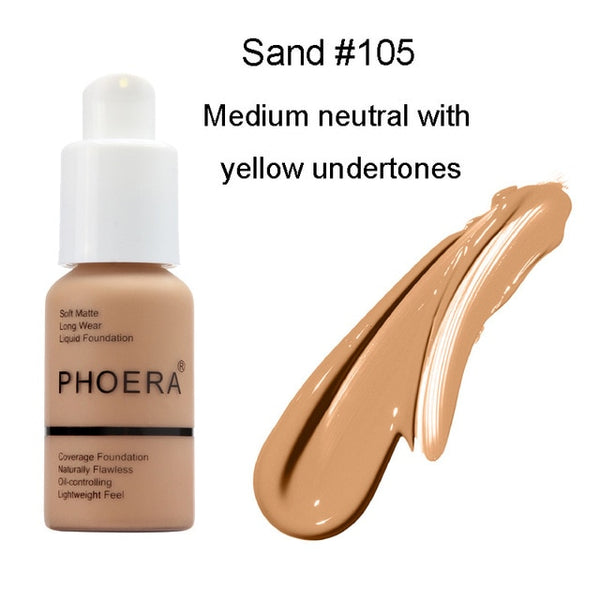 PHOERA Full Coverage Foundation 10 Colors Liquid Matte Moisturizer