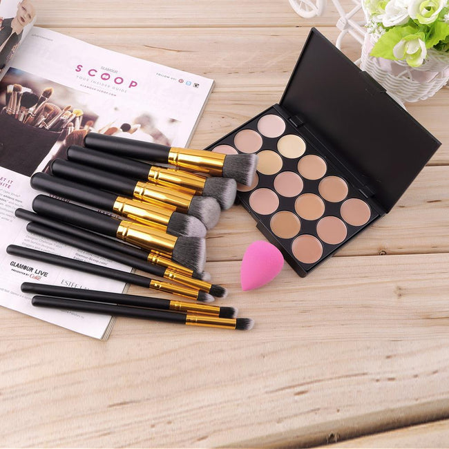 15 Colors Concealer Palette + 10pcs MakeUp Brushes Kit