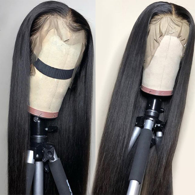 13x4 Lace Front Straight Human Hair Wigs With Elastic Band