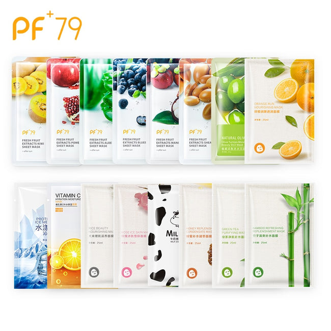 16pcs Plant Essence Face Mask for Moisturizing, Oil Control and Blackhead Removal